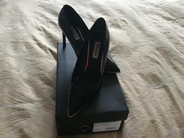 Dune Black Patent court shoes size 3