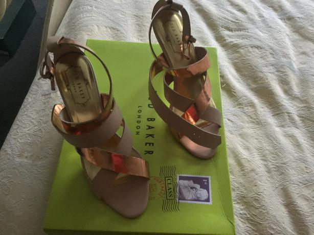 Ted Baker Rose Gold and cream strappy sandals size 4