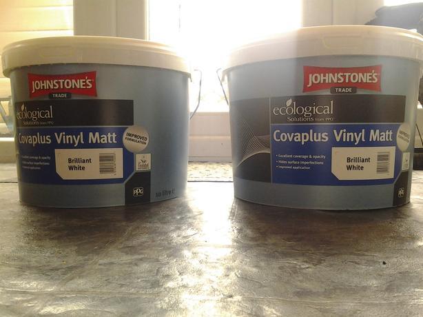 2 x 10 LITRE TUB Johnstone'S Trade 20 Litre Covaplus Vinyl Matt Brilliant White