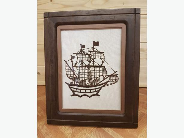 Handmade Vintage Galleon Ship Embroidery Gift