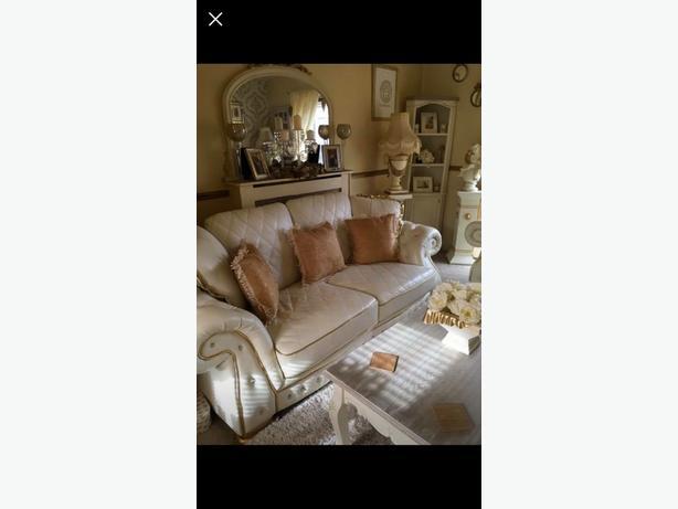 italian cream gold leather diamante sofa