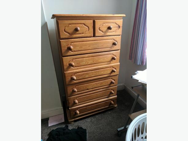 soild pine 8 drawer not flat pack