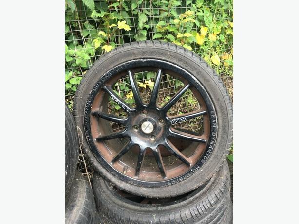 """4 x 17"""" Samurai Spec B Black Alloy Wheel Rims and Tyres - 205/40/17"""