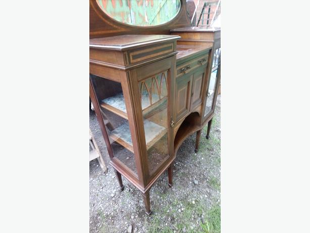 edwardian inlaid display cabinet