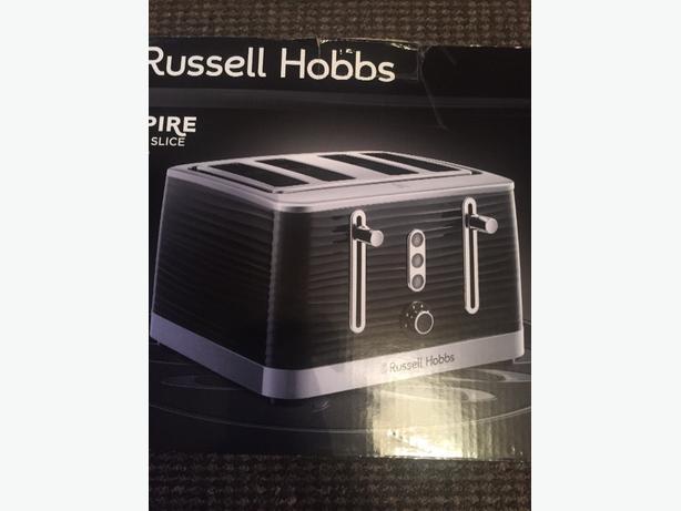 brand new russel hobbs inspire black 4 slice toaster