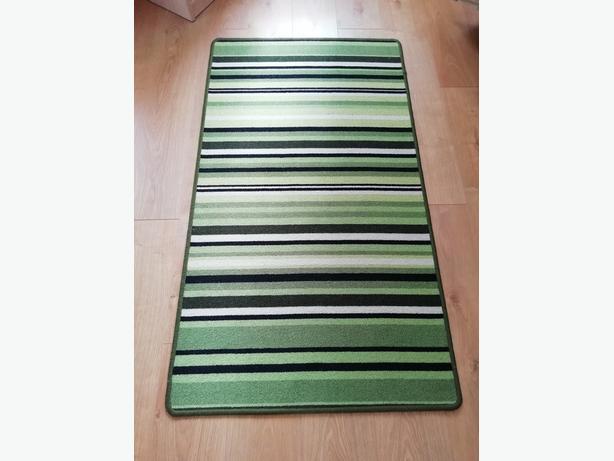 "Rug 58"" long x 32"" green striped exc/con"