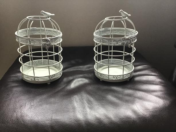 2 x Yankee bird cage candle holders