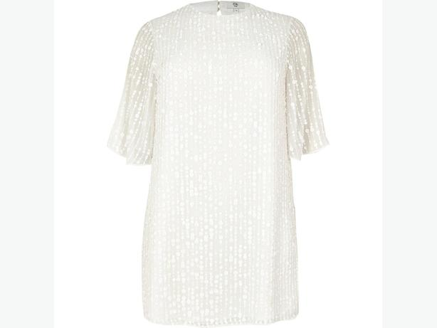 BNWT Ladies River Island White Sequin Dress UK 20