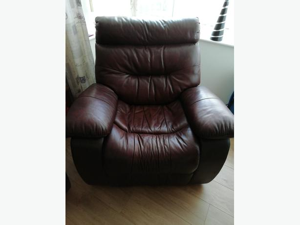 Sofa single chair quality genuine brown leather recliner