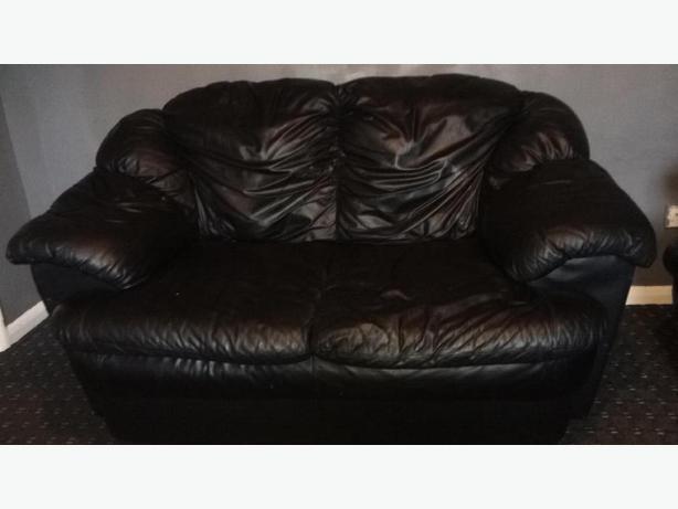 2 Seater + 2 Seater Black sofa