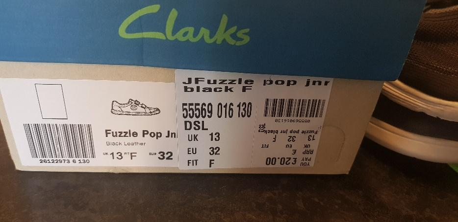 Clarks Fuzzle Pop Boys Black Leather School Shoes New with box