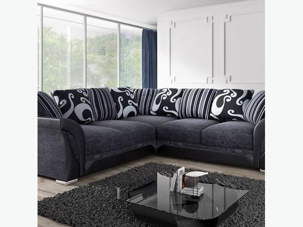 Grey & Black Fabric Sofa