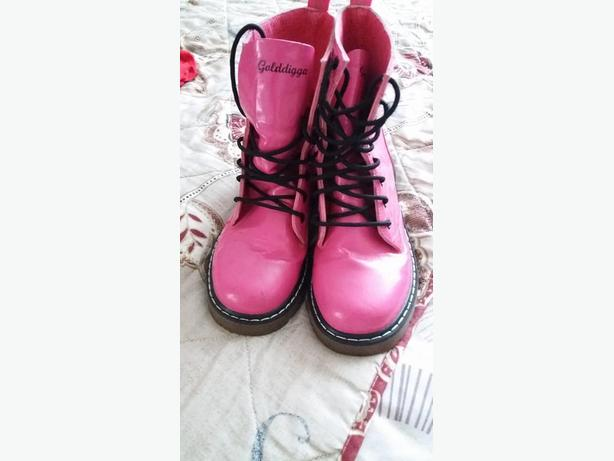 pink patent ankle boots
