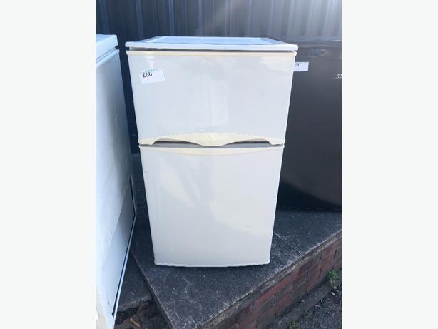 white mini fridge freezer
