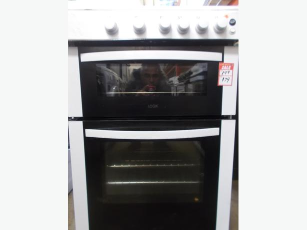 22N Logik Gas Cooker Double door top grill bottom oven white £179