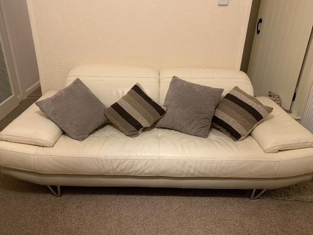 FREE: Cream Leather Sofa
