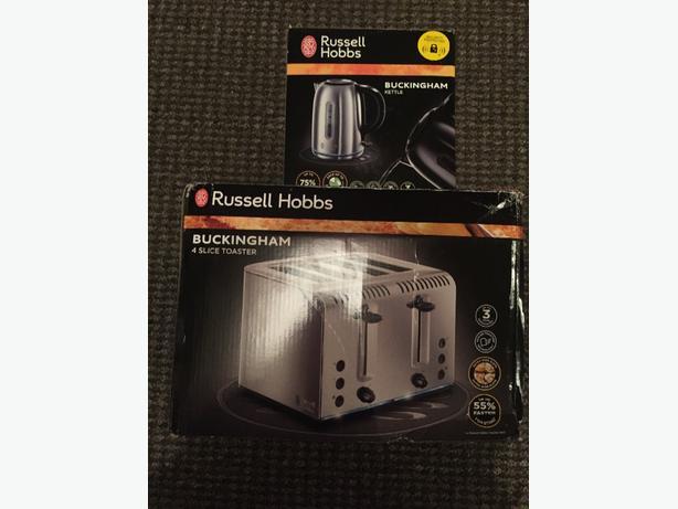 brand new russel hobbs buckingham kettle and 4 slice toaster set