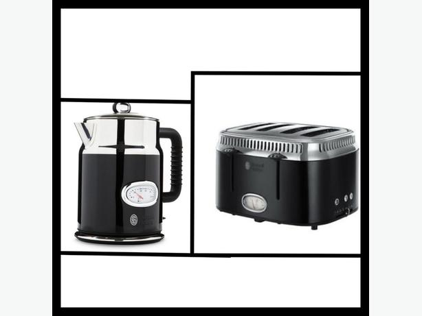 brand new russell hobbs retro black 4 slice toaster and kettle set