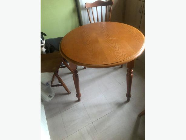 Kitchen table (pine) and 2 chairs