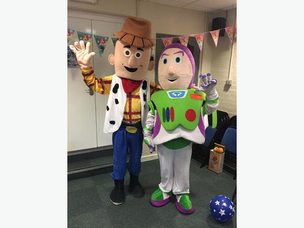 WOODY BUZZ TOYSTORY MASCOT FANCY DRESS COSTUME CHILDS PARTY HIRE ENTERTAINMENT