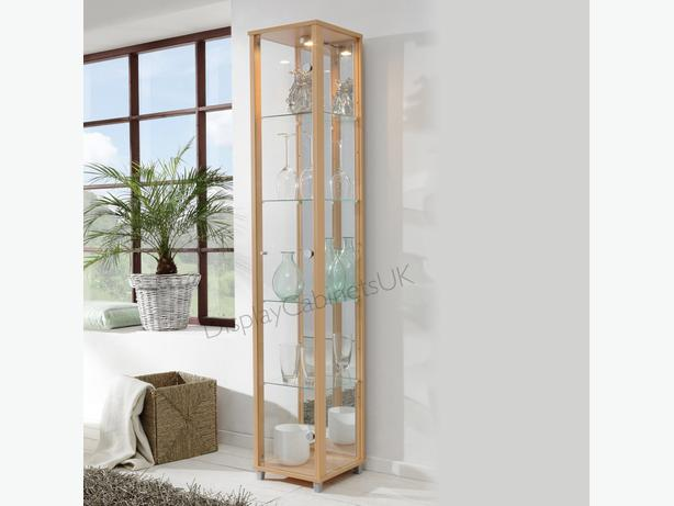 beech effect Single  glass display cabinet -Ex display