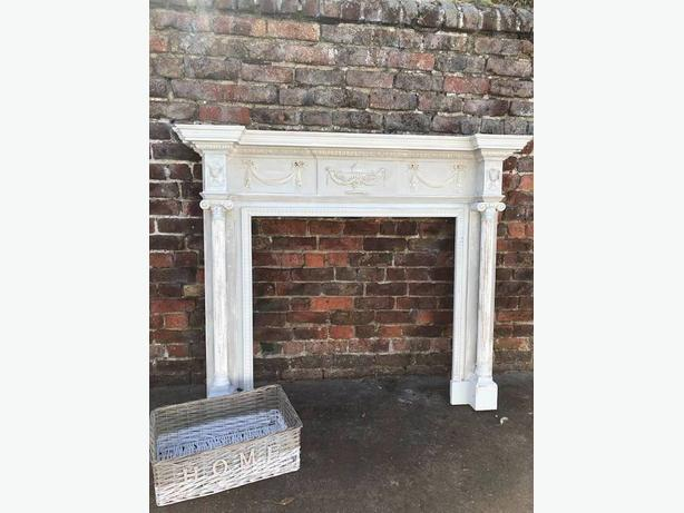 Large Classical Architectural Georgian Robert Adam Style Wood Fireplace Surround