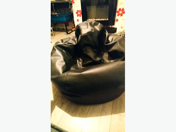 FOR TRADE: Black large leather bean bag