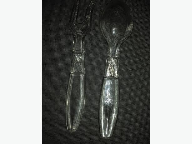 PRESSED GLASS SALAD SERVERS