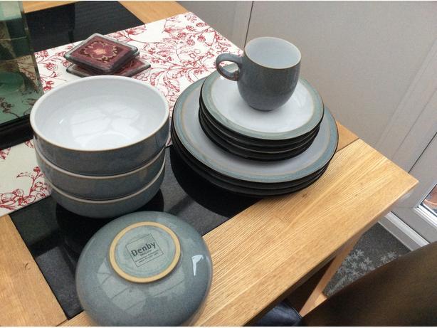 Denby grey dinnerservice 4 piece set