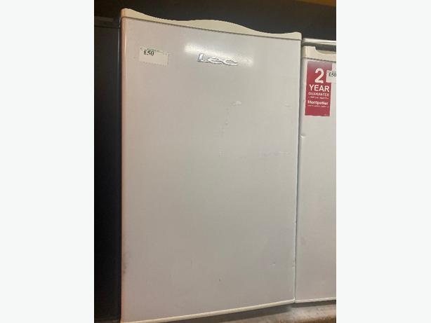 white lec under counter fridge