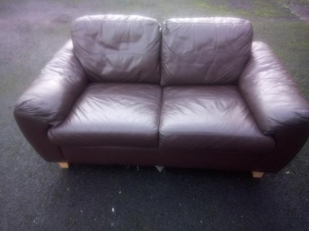 Two seater brown leather  delivery available