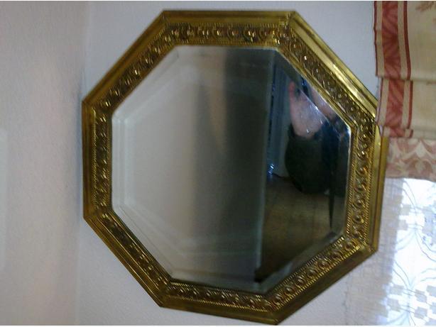 Vintage  Gold Metal Octagonal Brass Mirror