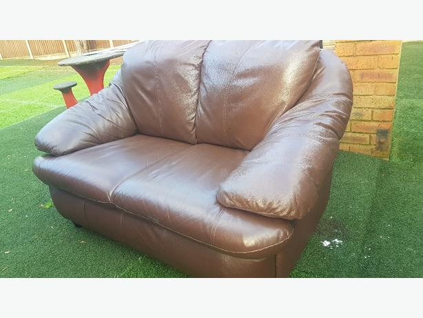 leather sofa 2 seater and mattress and side board