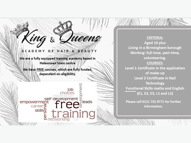 FREE TRAINING AT KING AND QUEENS