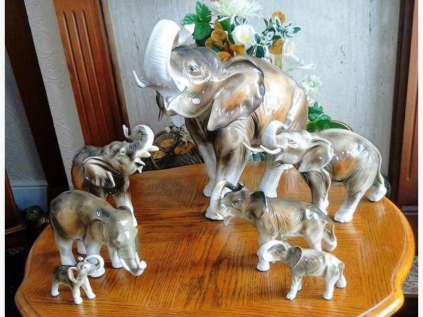 My Herd of 7 Royal Dux Elephants
