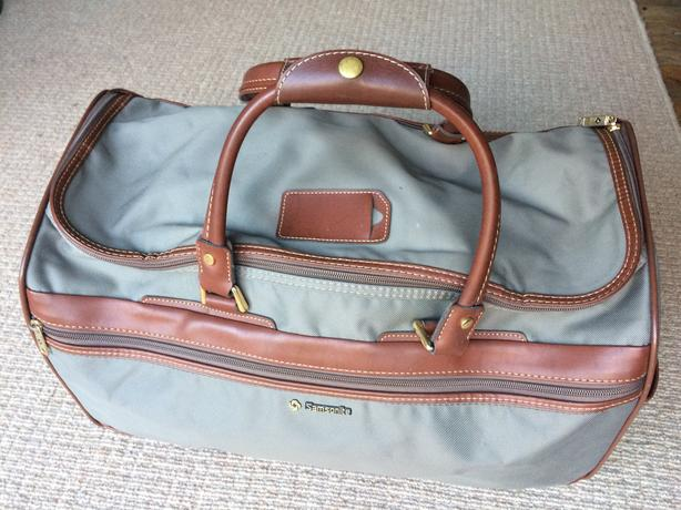 Samsonite grey fabric & tan leather straps luggage bag