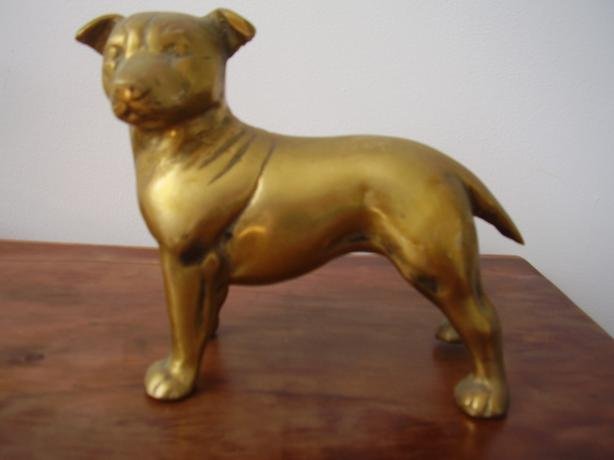 2 x VERY  HEAVY SOLID BRASS STAFFIE DOGS £20 EACH!!