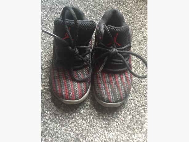 Red and black Jordans