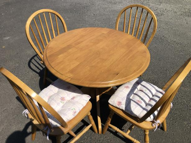 SOLID BEECH WOOD KITCHEN DROP LEAF DINING TABLE & 4 CHAIRS ~~ WE DELIVER