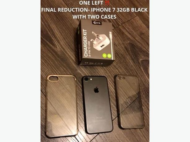 SPECIAL OFFER! Iphone 7 - 32GB - BLACK - UNLOCKED - TWO CASES