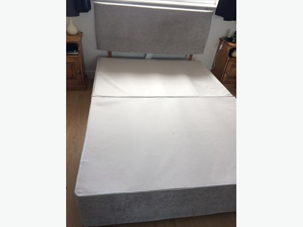 Double bed base with velvet grey headboard comes in 3 parts