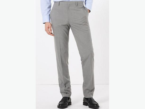 Mens Marks and Spencer Grey Striped Trousers