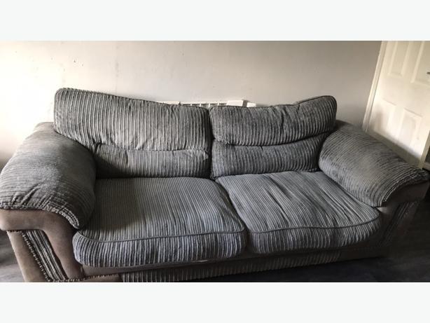 grey cord 3 seater sofa