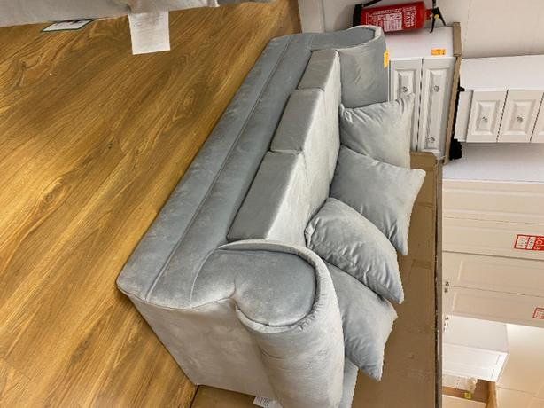 3 SEATER SOFA -silver grey french soft touch fabric