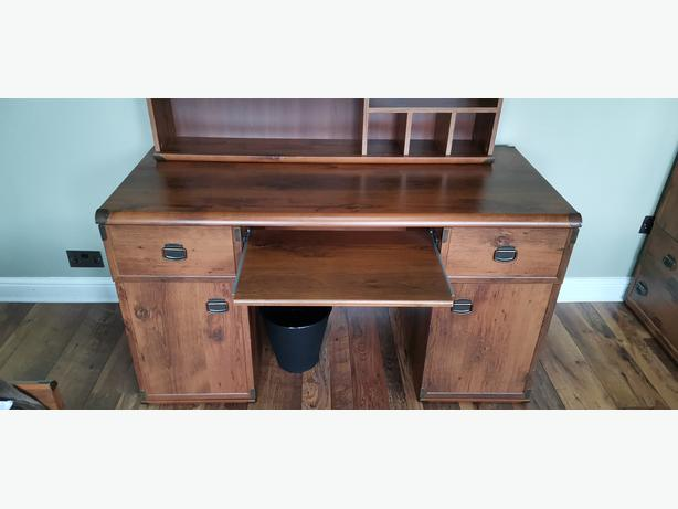 Desk Computer PC Workstation with Drawer and Cupboard and Shelf.Rustic
