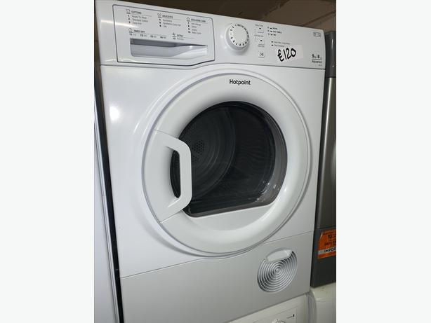 PLANET APPLIANCE - 9KG WHITE HOTPOINT CONDENSER DRYER WITH WARRANTY INCLUDED