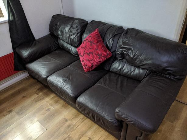 leather 3 seater sofa and rocker swivel recliner chair