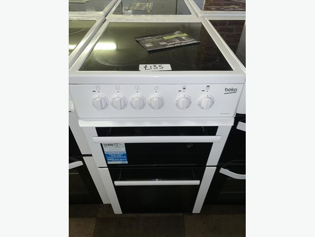 PLANET APPLIANCE -50CM WHITE BEKO ELECTRIC COOKER WITH GUARANTEE INCLUDED