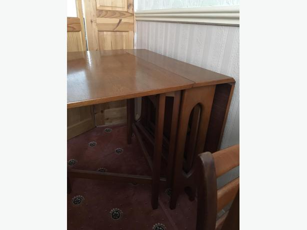 VINTAGE G PLAN FOLDING DINING TABLE WITH 4 CHAIRS