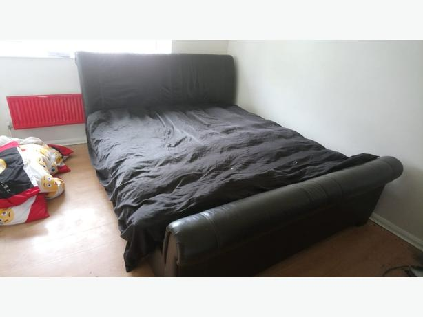 superking leather bed
